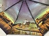 Серый женский зонт полуавтомат 9 спиц с двойной тканью и городами внутри, фото 7