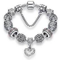 """Браслет женский посеребренный Europian Charm """"Diamond Heart"""""""