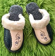 Жіночі шкіряні капці з овечої шерсті