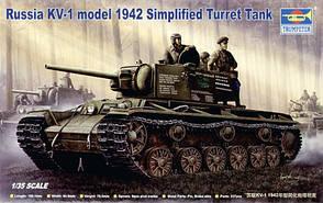 КВ-1 советский тяжелый танк 1941 года. Сборная модель в масштабе 1/35. TRUMPETER 00358