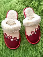 Домашние женские кожаные тапочки из овечьей шерсти