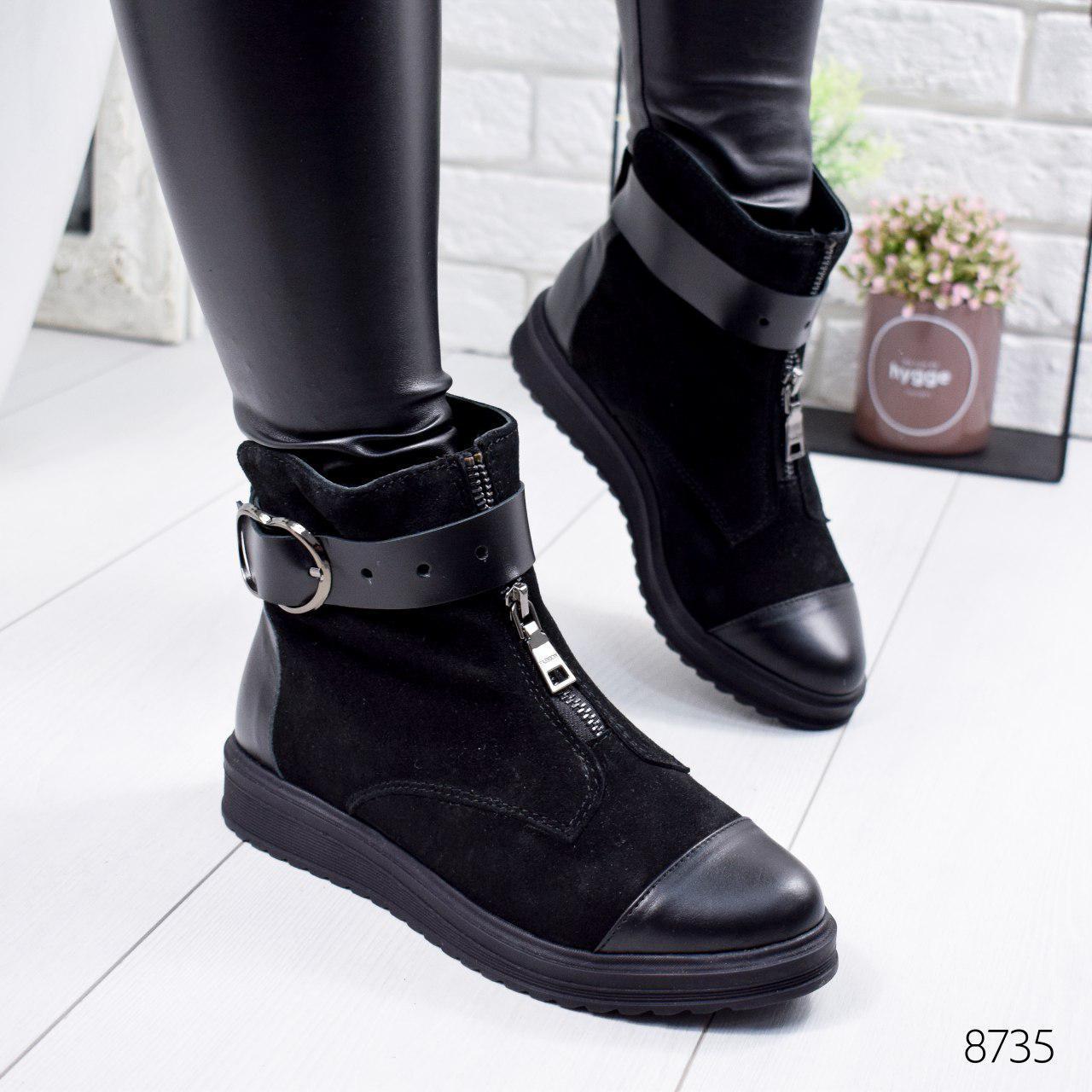 """Ботинки женские зимние """"Adeya"""" черного цвета из натуральной замши. Ботильоны женские. Ботильоны зима"""