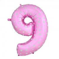Шарик Цифра (80см) розовый 9