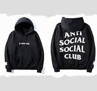 Худи Anti social social club × Paranoid Undefeated черное с белым лого, унисекс (мужское, женское, детское)