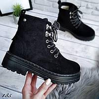 Ботинки черные женские зимние на шнуровке