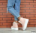 Женские зимние пудровые ботинки, из натуральной кожи  36 ПОСЛЕДНИЙ РАЗМЕР, фото 3