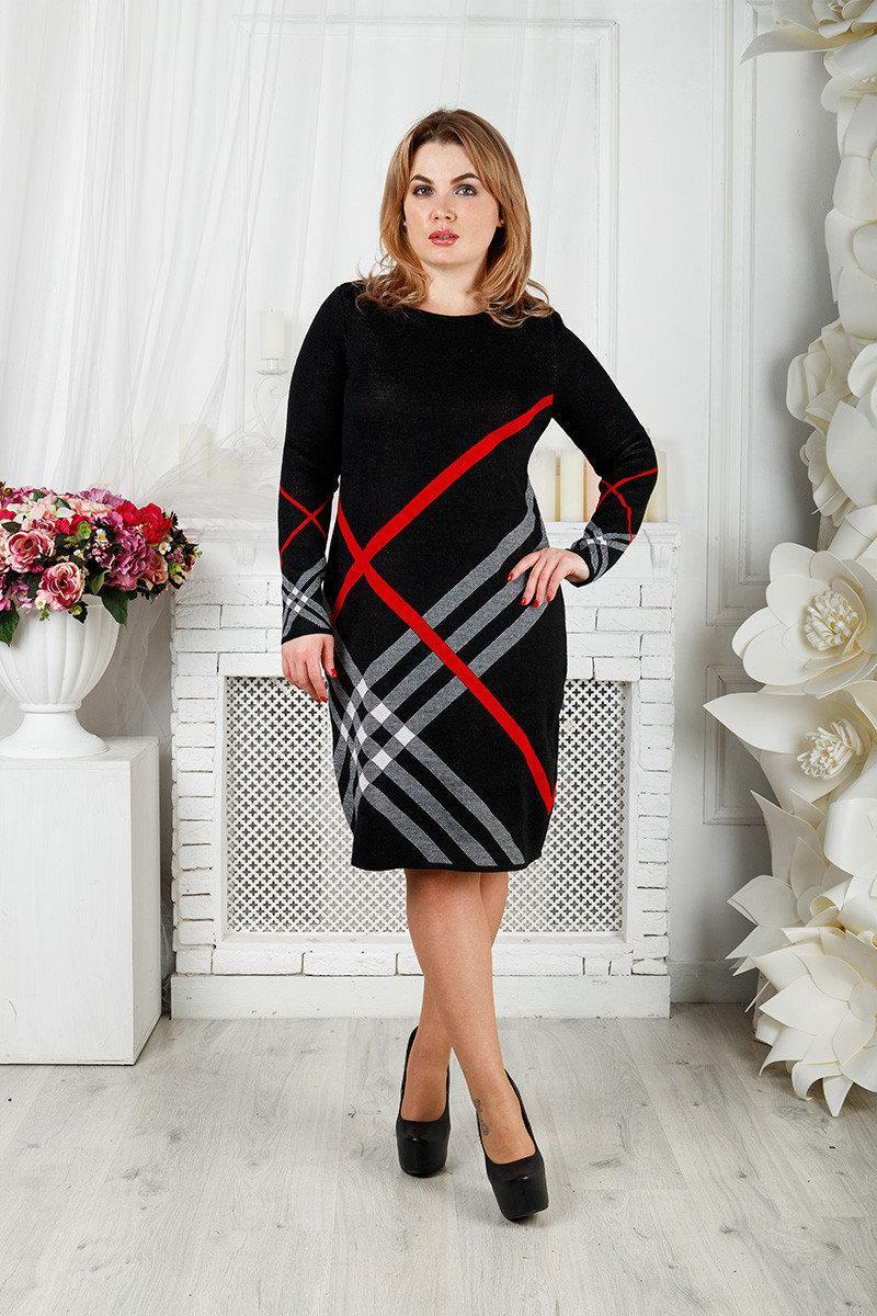 Вязаное платье Перспектива 48-58 красный