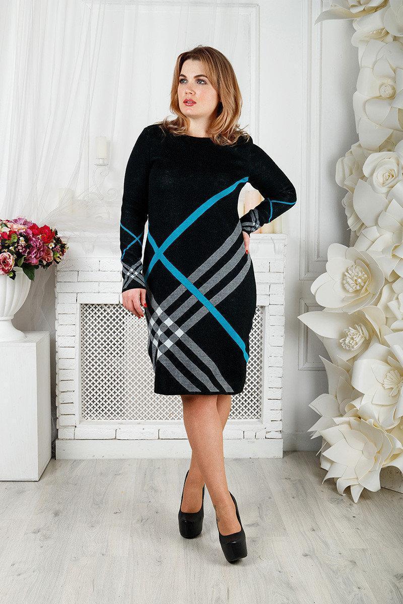 Вязаное платье Перспектива 48-58 бирюза