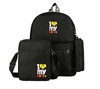 Рюкзак,сумка,пенал женский яркий набор 3в1 Черного цвета