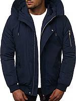 Мужская зимняя куртка, с капюшоном синяя