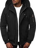 Мужская зимняя куртка, с капюшоном черная