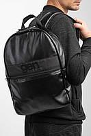 Большой черный рюкзак из кожзама с внешним карманом