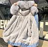 Джинсовая женская куртка с большим меховым капюшоном (демисезон/еврозима), фото 9