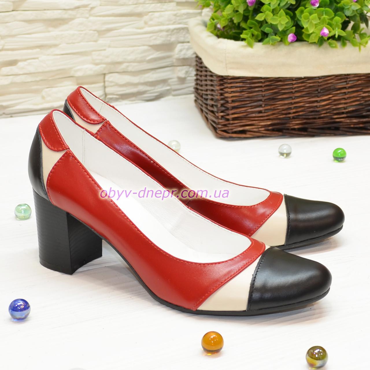 Туфли-лодочки женские кожаные,  на устойчивом каблуке