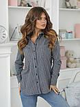Женская рубашка в полоску повседневная байка размер: 42,44,46,48, фото 3