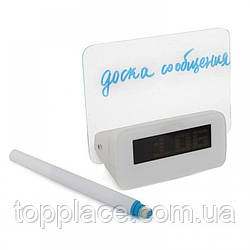 Настольные часы-будильник с LED табличкой для записей, Белый (G101001167)