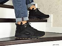Зимние кроссовки Nike Huarache (черно-коричневые)