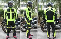 Мотокостюм черно-салатовый утепленный с подстежкой и защитными протекторами. XL