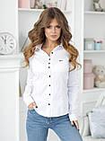 Женская классическая блузка коттон длинный рукав размер: 42, 44, 46, 48, фото 3