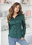 Женская классическая блузка коттон длинный рукав размер: 42, 44, 46, 48, фото 9