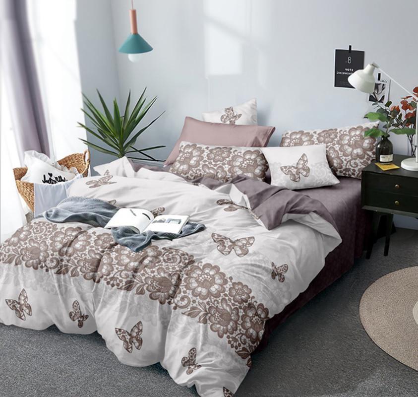 Двуспальный комплект постельного белья евро 200*220 Сатин Люкс (12893) TM КРИСПОЛ Украина