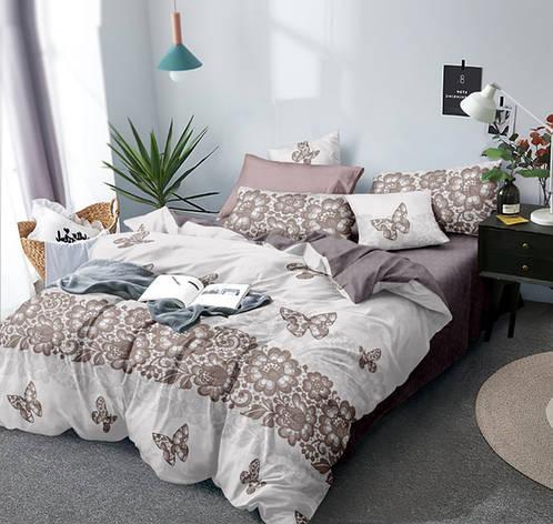Двуспальный комплект постельного белья евро 200*220 Сатин Люкс (12893) TM КРИСПОЛ Украина, фото 2