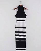 Платье женское резинка вязаное в полоску