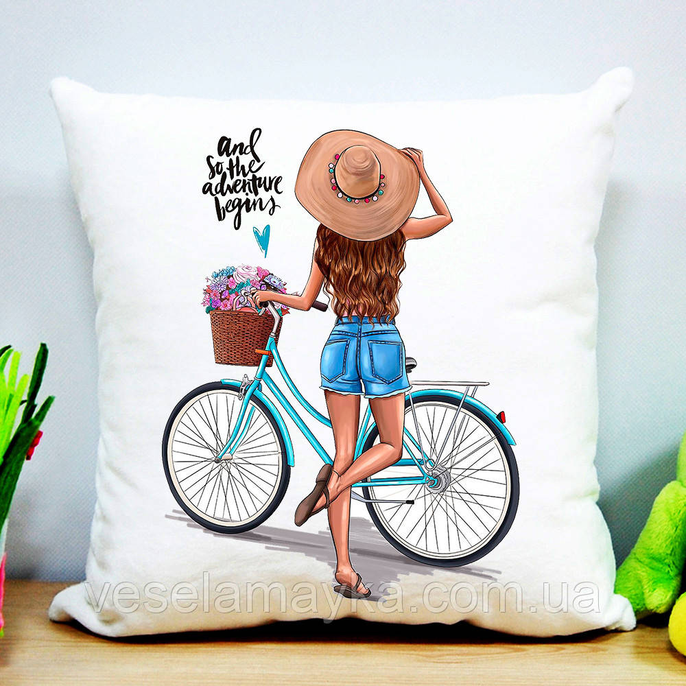 Подушка Девушка с велосипедом