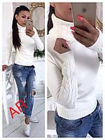 Свитер женский стильный, теплый, белый, 504-114