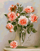 """Картина по номерам """"Нежные розы"""", в термопакете 40*50см"""