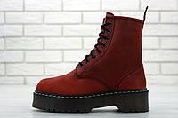 Женские ботинки Dr. Martens Jadon красные зимние на меху теплые кожаные, фото 1