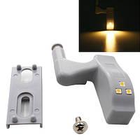 Светодиодная LED подсветка мебели шкафа на мебельную петлю, тепл белый