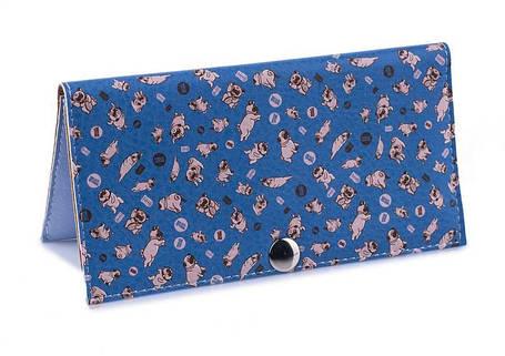 Женский кошелек -Мопсики на синем фоне-. Ручная работа, фото 2