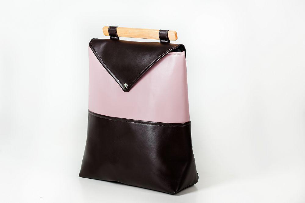 """Женский кожаный рюкзак Skins """"Клубника в шоколаде"""" Молодежный, повседневный, для учебы ( Міський, чорний)"""
