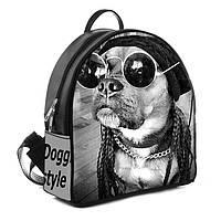 Рюкзаки женские черные с принтом Собака в очках