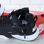 Чоловічі зимові кросівки Nike Air Huarache Winter з хутром (чорно-білі), фото 8