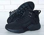 Чоловічі зимові кросівки Nike Air Huarache Winter з хутром (чорні), фото 6