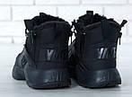 Чоловічі зимові кросівки Nike Air Huarache Winter з хутром (чорні), фото 5