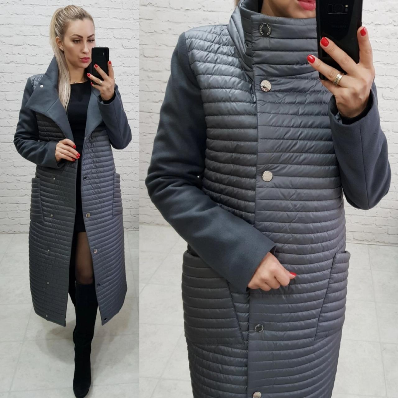 Пальто куртка кокон арт. 138 сірий графіт
