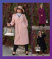 Женское осеннее пальто из кашемира на запах большого размера с поясом 48-50 52-54 56-58, фото 1