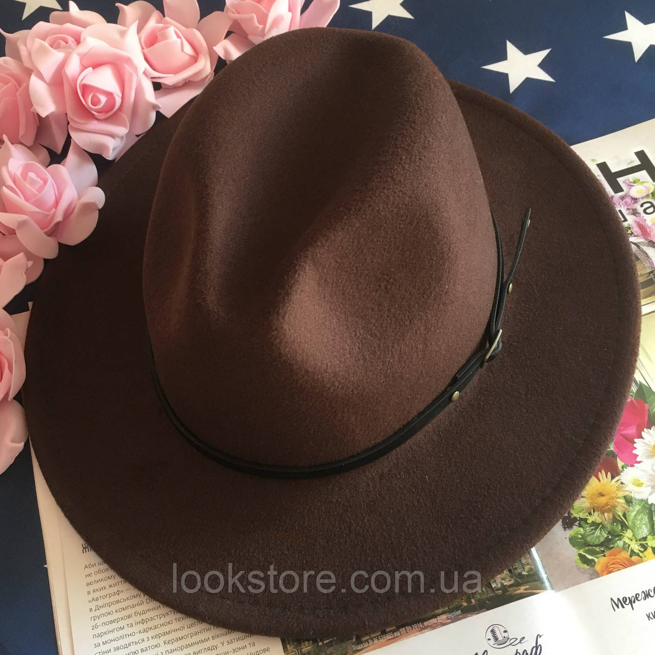 Шляпа Федора унисекс с устойчивыми полями Classic коричневая