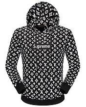 Толстовка Louis Vuitton Supreme Hoodie L мужской  black LV001