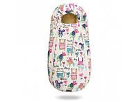 Конверт -кокон меховой Baby XS Рисунки на белом фоне 356-19016643