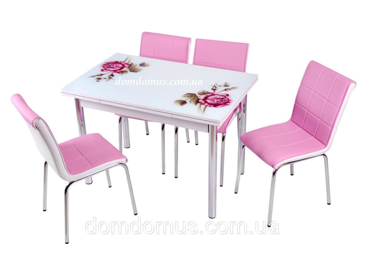 """Комплект обеденной мебели """"Pempe Gul"""" 90*60 м(стол ДСП, каленное стекло + 4 стула) Mobilgen, Турция"""