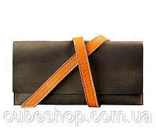 Кожаный Тревел-кейс (темно-коричневый с оранжевым)