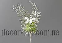 Добавка пика с салатовыми цветками в инее на проволоке 20см 19TB04009-40