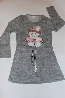 Платье детское Медвежонок Ангора серый Размер 10 лет