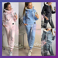 Женский зимний теплый спортивный костюм с мехом и капюшоном розовый графит меланж голубой 42-44 44-46 46-48
