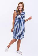 LUREX Платье широкая полоска - синий цвет, M