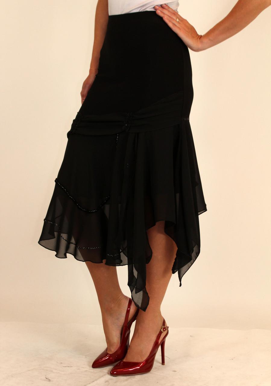 Нарядная черная юбка асимметрия ( масло с шифоном ) 42-48 р